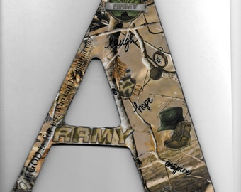 "9.5"" Wooden Letter A Army Wall Decor"