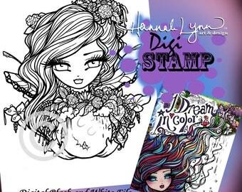 PRINTABLE Digi Stamp Flower Fairy Moon Coloring Page I Dream in Color Fun Fantasy Art Hannah Lynn