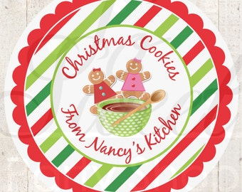 Christmas Stickers, Christmas Cookie Labels, From The Kitchen Of Labels, Cookie Exchange, Baking Labels, Personalized Stickers - Set of 24