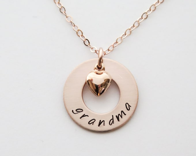 Rose Gold Grandma Necklace with Heart Charm - 14k Gold Fill - Customizable Personalized Hand Stamped Jewelry by Betsy Farmer Designs