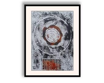 Simple Minimal Wall Art Modern Abstract Fine Art Black Grey Black Brown Collagraph Print Monoprint Raw Rough Hand Printing
