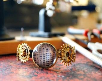 Chrysler Building Stainless Steel Photo Jewelry Bracelet, OOAK, Adjustable Cuff Bracelet, NYC Steampunk Gear Jewelry