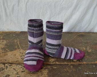 Youth size 1 (EU 31.5) VINEYARD ROWS Felted Wool Soccasins with Leather Soles, Toes and Heels