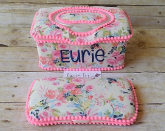 Set of 2, Large Nursery Wipe Case and Travel Baby Wipe Case, Bright Pink Vintage Floral, Baby Shower Gift Set, Pink Roses, Flower Wipe Cases