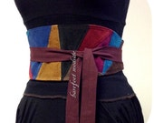 Patchwork Obi Belt, Unique Corduroy Patch Obi Belt, One of a Kind art to wear, Corset belt, OOAK Bohemian Style, Barefoot Modiste Handmade