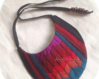 Unique Vibrant Seminole collar, One of a Kind Fabric Neckwear, Unique statement Bib, Bohemian NeckCuff, Barefoot Modiste Handmade, One Size