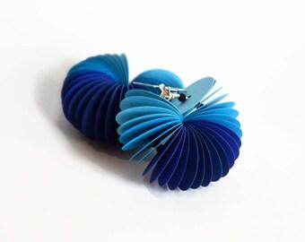 ombré blue: Dangle Earrings CARTA - made of cardstock