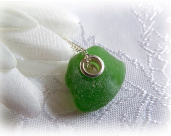 Large Hole Green Beach Sea Glass Pendant - Sterling Silver