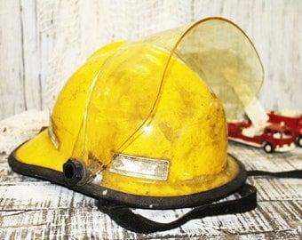 Yellow Fireman's Helmet, Vintage Fire Helmet