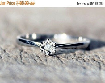 SALE10 White Gold Diamond Ring Solitaire Wedding Engagement Anniversary 9ct Ladies FREE SHIPPING Size O.5 / 7.5