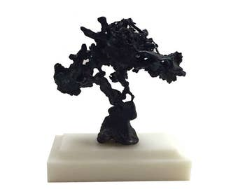 Small Abstract Black Ore Joshua Tree Sculpture