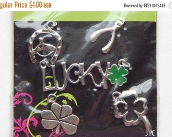 WINTER SALE 5 Pieces of Metal Jewelry Charms - Lucky, Clover, Horseshoe, Wishbone, Theme Pack, Silver Metal, Mixed Sizes, Green Enamel, Base