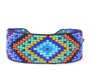 Huichol Inspired Beaded Diamond Mandala Bracelet, Original Design 17 Blue Center