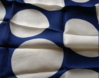 Big Polka Dots Silk Vera vintage scarf navy dark blue white