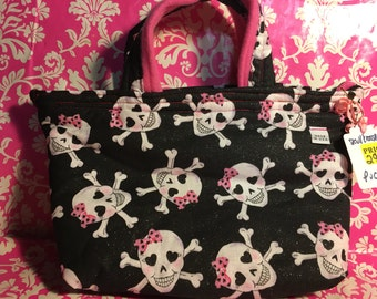 Pink Bow Skull Crossbones - 2 Handle Purse - Glitter Cotton Girls - Black - Hot Pink Interior - Hand Made Ink