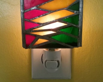 Hand-made Stained Glass Rast a Lightning Bolt Nightlight
