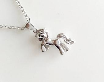 My Little Pony Necklace Silver Tone Simple Minimalist Necklace Bridesmaid Wedding 4202