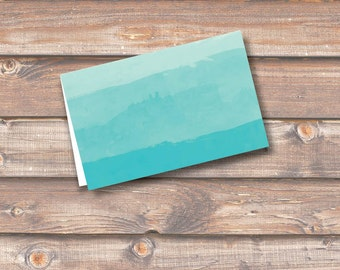 """Teal Watercolor Ombre Place Cards Printable Food Tags Menu Place Card Wedding Baby Shower Birthday 3.5 x 2.25"""" Tent Style INSTANT DOWNLOAD"""