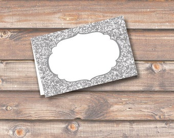 """Silver Glitter Printable Food Tags or Placecards 3.5 x 2.25"""" Tent-Style - INSTANT DOWNLOAD"""