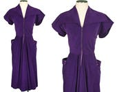 vintage 1950s purple dress • POCKETS • corduroy zip front dress with statement collar & wrap around pockets