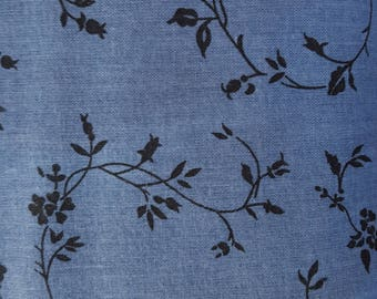 "Denim Blue Tone on Tone Rose Print108"" wide back 100% cotton fabric"