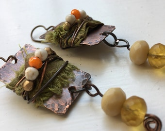 Dare to Be Different Silk Ribbon Wrapped Olive and Orange Dangle Boho Inspired Copper Earrings