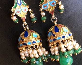KREMLIN EARRING sterling enameled antique ancient inspired emerald silver