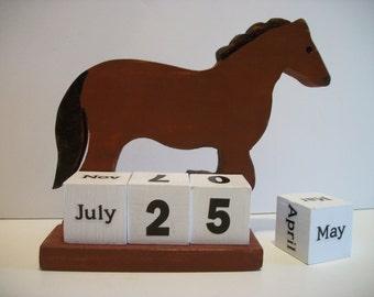 Horse Calendar Perpetual  Wood Block  Brown Horse Decor