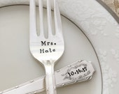 Mr. & Mrs. with name and date, vintage wedding cake forks, hand stamped