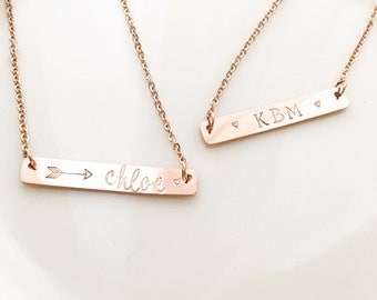 Rose gold bar necklace, hand stamped, personalized with names