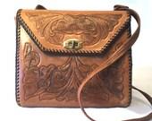 1950's Leather Tooled Leather Handbag-