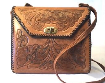 1950's Leather Tooled Leather Handbag