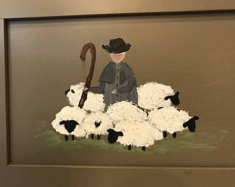 Hand painted Shepherd and Sheep on a Pewter Grey Painted Hardwood door.
