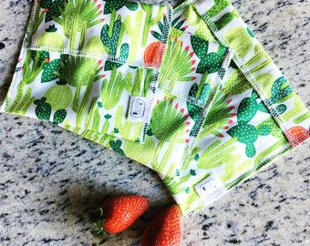 Reusable Ecofriendly Sandwich Bag and Snack Bags - modern cacti - set of 3