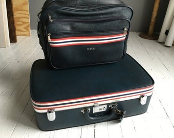 Vintage Ventura Luggage and Carry on bag Set in Dark Blue