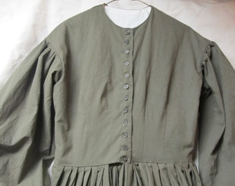 Bust 38 inches / Waist 30 inches - Work / Camp Dress Civil War Era - Khaki green 100% cotton