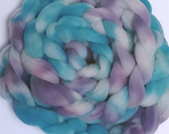 "Wool Roving Babydoll Southdown / Alpaca for Spinning & Needle Felting 4 Oz Combed Top Tourqoise Purple Pastel Fiber "" Imagine "" (2 avail.)"