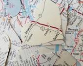 Map Heart Confetti / Map Confetti / Wedding Confetti / Bridal shower / Graduation party /  Vintage Map