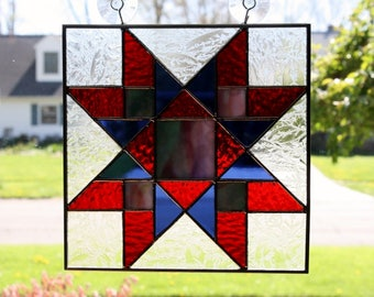 Stained Glass Suncatcher Quilt Block Northumberland  Star