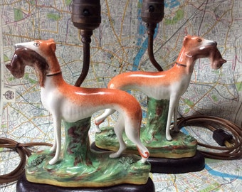 Pair of Antique Circa 1800's Staffordshire Pottery Whippet/Greyhound Dogs Table Lamps. Recently USA Rewired. Excellent.