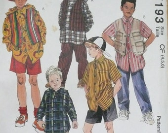 McCall's 7193 Boys Pants, Shirt, Shorts and Vest Pattern, Boys' Size 4, 5 and 6 Sportswear Pattern, Uncut and Factory Folded