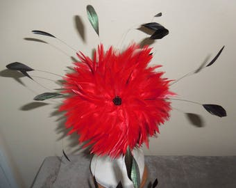 Cardinal - Red Black Feather Fascinator Headband Hat