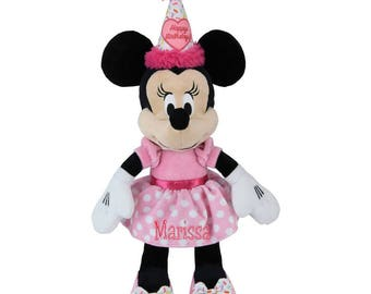 Personalized Minnie Mouse Plush Dolly in Pink Dot Dress Birthday Buddy 17in 0+