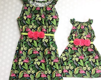 Mommy and Me Dresses - Mommy and Me Outfits - Mother Daughter Dresses - Matching Dresses - Flamingo Dresses - Mothers Day Gift - Flamingos