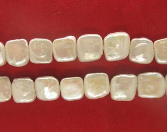 Full Strand White Square Coin Freshwater Pearls 12mm