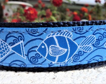 "Sale Dog Collar 1"" wide  adjustable Side Release buckle Blue Fish - martingale style is cost upgrade"