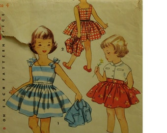 "Girls Sundress Pattern, Square Neck, Fitted Bodice, Full Skirt, Button Back, Bolero, Collar, Simplicity No. 4625 Size 4 Chest 23"" 58cm"