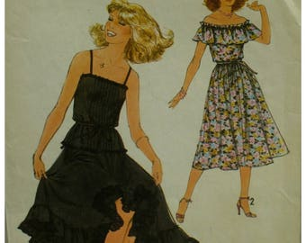 Off Shoulder Peasant Blouse Pattern, Shoulder Ruffle, Sleeveless, Camisole, Full Skirt, Hem Ruffle, 1970s, Simplicity No. 8688 Size 12