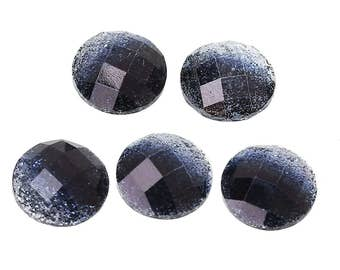 10 Resin Black Glitter Faceted Dome 8mm