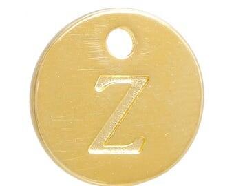Gold Letter Z Alphabet Charm 12mm